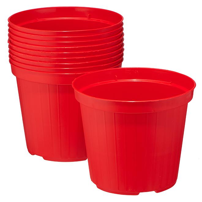 """Paquet de 10jardinières Norma en plastique, 5,5"""", rouge"""