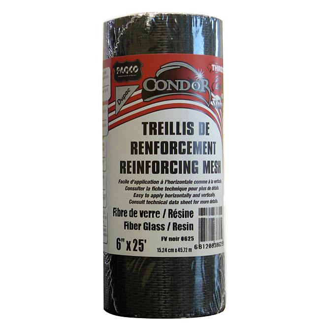 Treillis de renforcement fibre de verre 6 po x 25 pi - noir