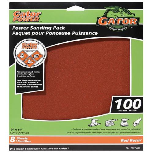 Papier abrasif Gator, 9 x 11 po, 100 grain, paquet de 8