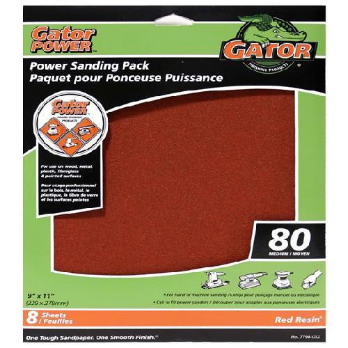Gator Sandpaper - 9 x 11-in - 80 Grain - 8-Pack