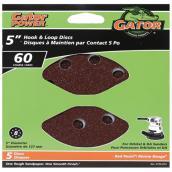 Disque à poncer Gator, grain 60, 8 trous, 5 po, pqt-5