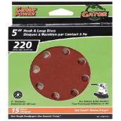 Gator Sanding Disk - 8-Hole - 220 Grain - 5-in - 15-Pack