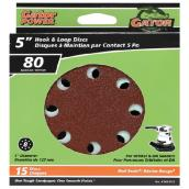 Gator Sanding Disk - 8-Hole - Grit 80 - 5-in - 15-Pack