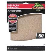 Multisurface Sandpaper - 9 x 11-in - 60 Grit - 4-Pack