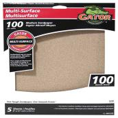 Multisurfaces Sandpaper - 9 x 11-in - 100 Grit - Brown - 5-Pk
