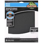 Metal Emery Sanding Paper - Assorted Grain - 9 x 11-in - 3-Pk