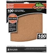 Bare Wood Garnet Sandpaper - 100 Grit - Brown - 5-Pack