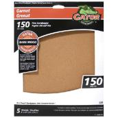 Bare Wood Sandpaper - 150 Grit - Garnet - Brown - 5-Pack