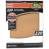 Bare Wood Sandpaper - 220 Grit - Garnet - Brown - 5-Pk