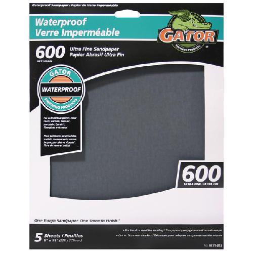Papier abrasif imperméable, 600 grain, 9 x 11 po, paquet de 5
