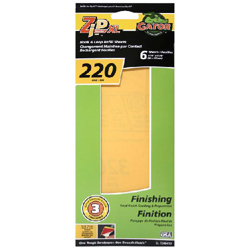 Hook and Loop XL Sandpaper - 220 Grit - Gold - 6-Pack