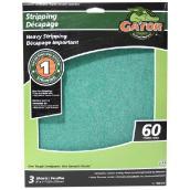 Papier abrasif supérieur, 9 x 11 po, grain 60, vert, pqt-3