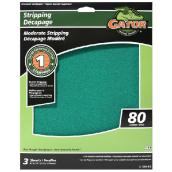 Premium Sandpaper - 9-in x 11-in - 80 Grit - Green - 3-Pack