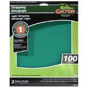 Papier abrasif supérieur, 9 x 11 po, 100 grain, vert, pqt-3