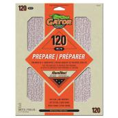 Premium Sandpaper - 120 Grit - 9 x 11-in - Orange - 3-Pk
