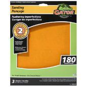Premium Sandpaper - 9 x 11-in - 180 Grit - Orange - 3-Pack