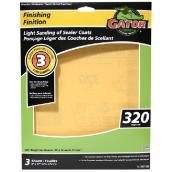 Papier abrasif supérieur, 9 x 11 po, grain 320, doré, pqt-3