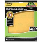 Papier abrasif supérieur, 9 x 11 po, grain 400, doré, pqt-3
