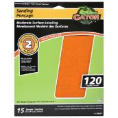 Premium Sandpaper - 120 Grit - 9 x 11-in - Orange - 5-Pack