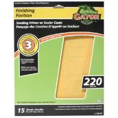Premium Sandpaper - 220 Grit - 9 x 11-in - Gold - 15-Pack