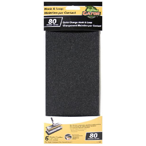 Gypse Sandpaper - 80 Grit - Black - 4.5 x 10.5-in - 6-Pack