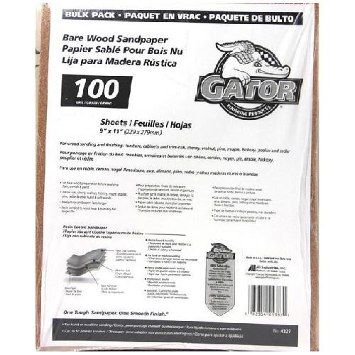 Papier abrasif moyen grain 100 pour bois nu, 120/paquet