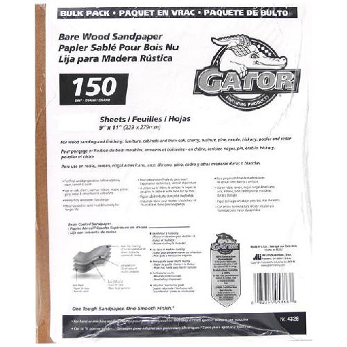 Papier abrasif fin grain 150 pour bois nu, 120/paquet