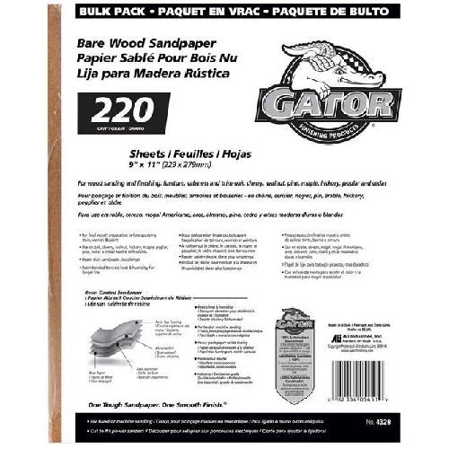 Papier abrasif grain extra fin 220 pour bois nu, 120/paquet