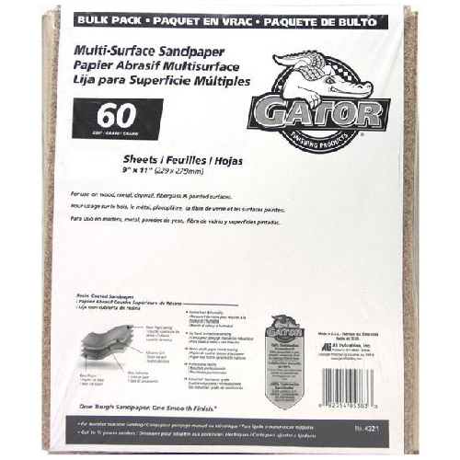 Papier abrasif gros grain 60 multi-surfaces, 120/paquet