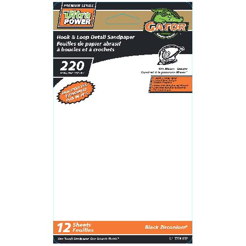Feuilles de ponçage détail, grain 220, paquet de 12