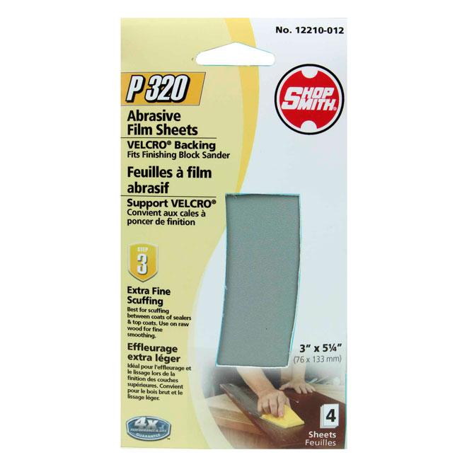 Pellicule abrasive, extra léger, grain 320, paquet de 4
