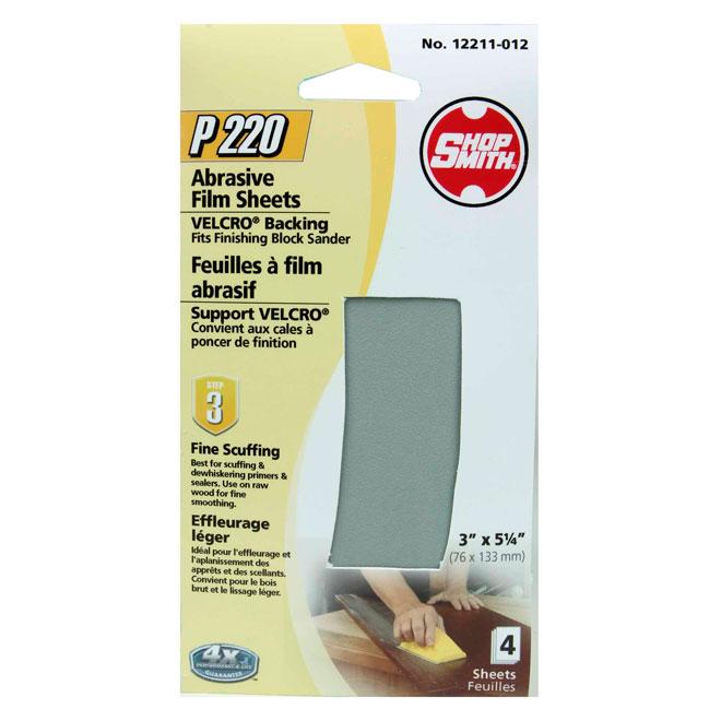 Pellicule abrasive, léger, grain 220, paquet de 4