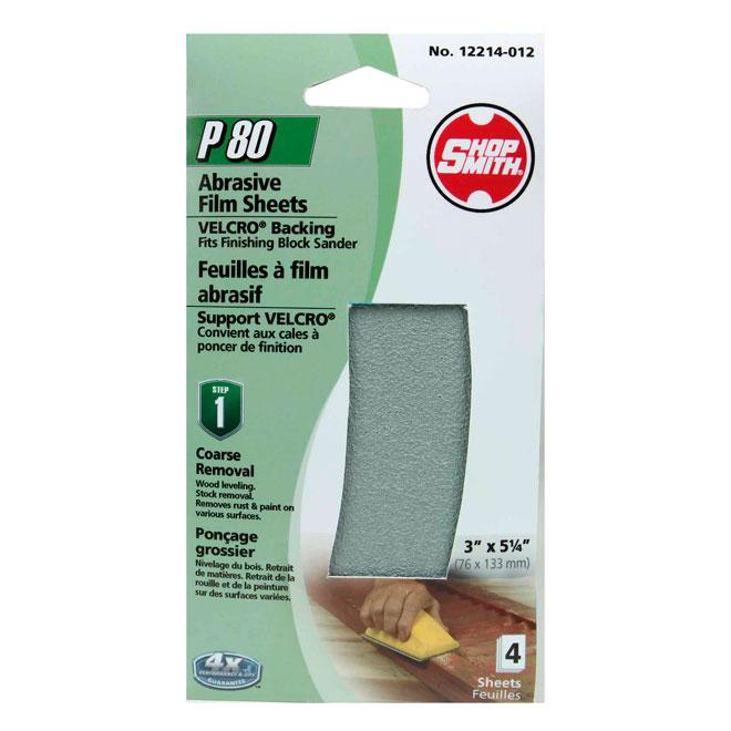 Papier abrasif, ponçage grossier, grain 80, paquet de 4