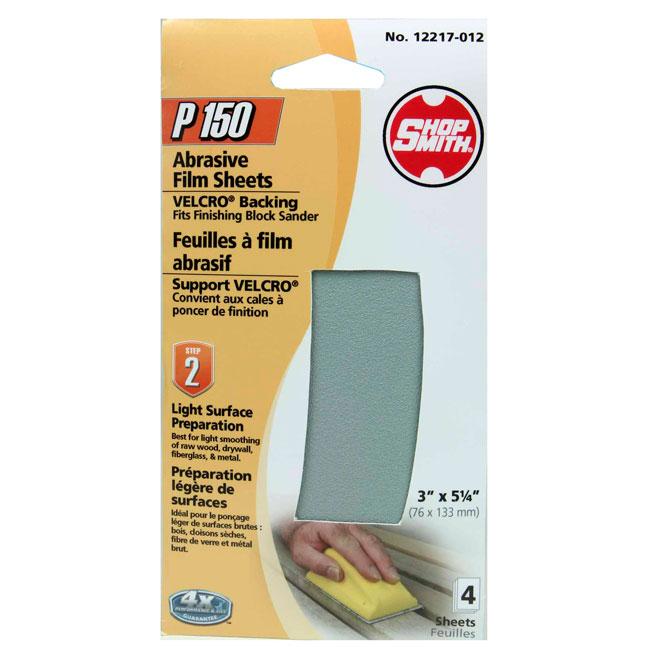 Papier abrasif, préparation légère, grain 150, pqt de 4