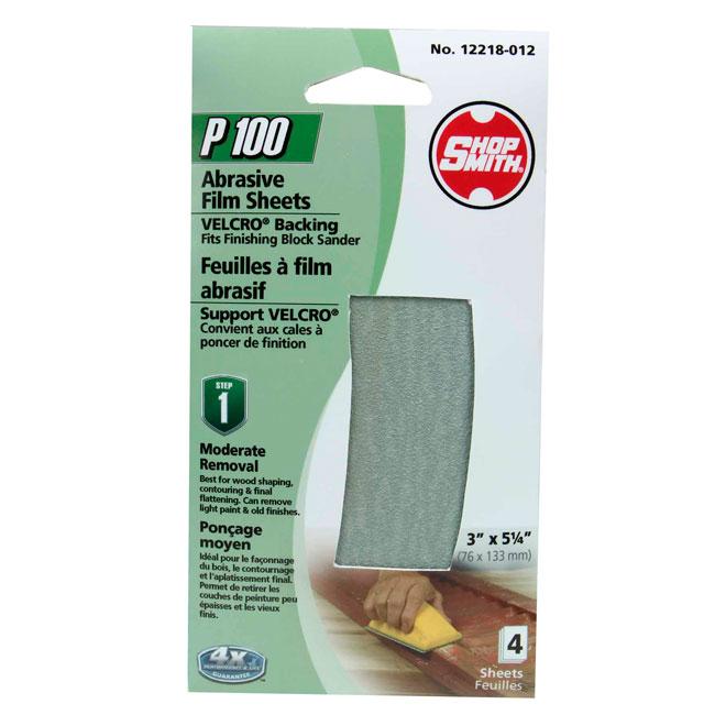Papier abrasif, ponçage moyen, grain 100, paquet de 4