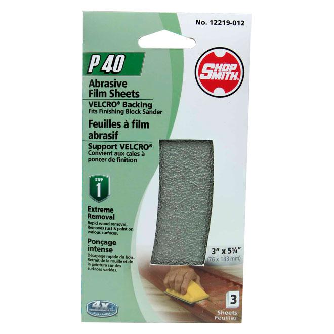 Papier abrasif, ponçage intense, grain 40, paquet de 4