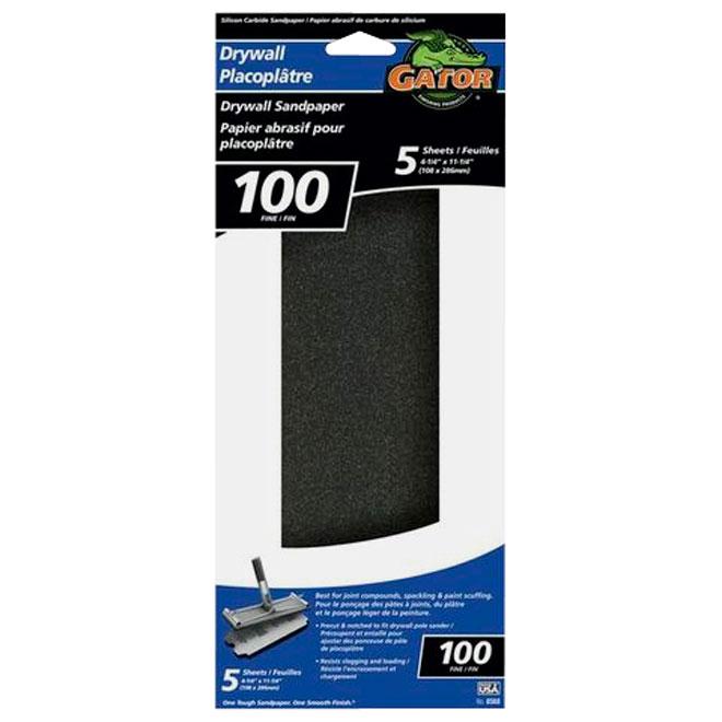 Papier abrasif pour cloisons sèches, grain 100, paquet de 5