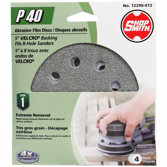 """Disque abrasif, 5"""", grain 40, paquet de 4"""