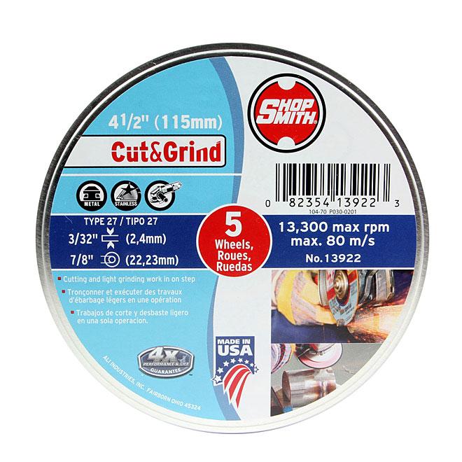 Meule à métal, Cut&Grind, 41/2po, paquet de 5