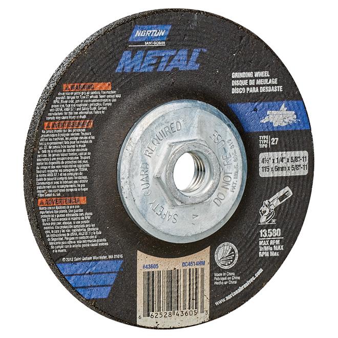 Meule à centre incurvé en métal, 4,5po