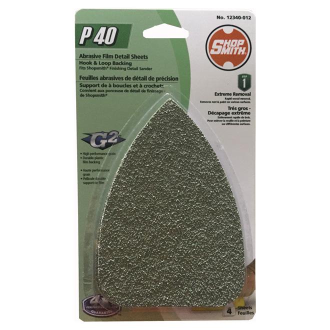 Feuilles de ponçage, oxyde d'aluminium, grain 40, pqt de 4