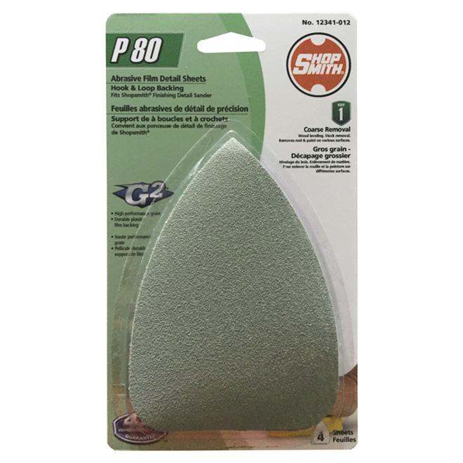 Feuilles de ponçage, oxyde d'aluminium, grain 80, pqt de 4