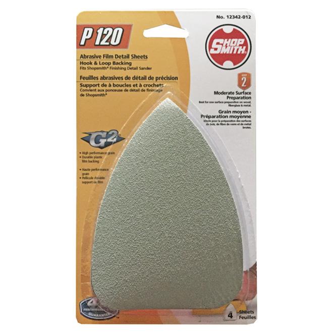 Feuilles de ponçage, oxyde d'aluminium, grain 120, pqt de 4