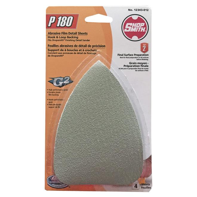 Feuilles de ponçage, oxyde d'aluminium, grain 180, pqt de 4