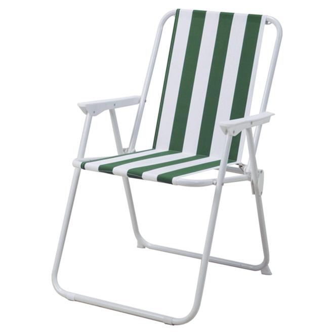 Chaise de patio pliante, verte/blanche