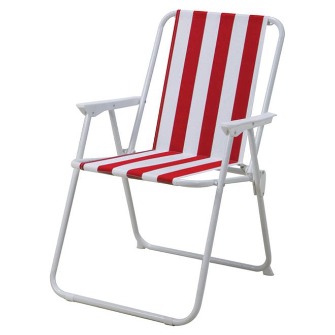 Chaise de patio pliante, corail/blanche