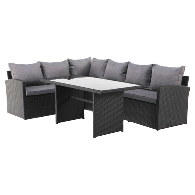 Wicker Patio Sectional Dining Set   3 Pieces