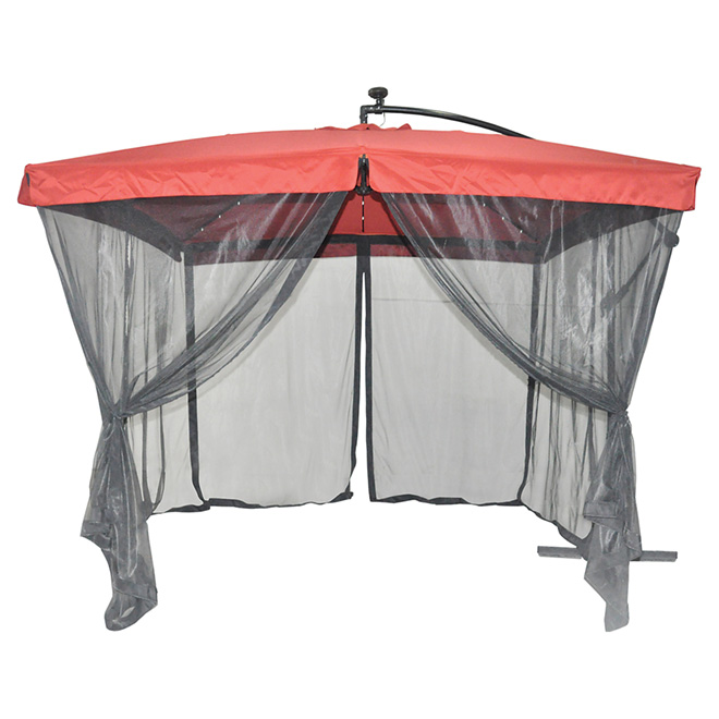 Uberhaus Solar Light Cantilever Patio Umbrella With Netting 8070l Rona