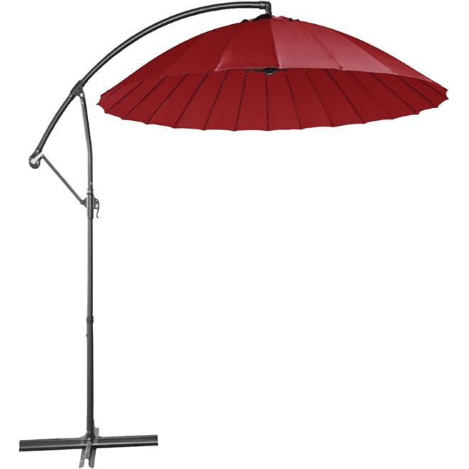 Parasol excentré pour patio, 10pi, rouge