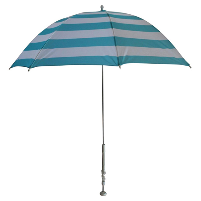 Parasol de patio à pince, 47 po x 34 po, turquoise/blanc